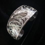 "1 1/4"" Wide Silver Feather Cuff Bracelet"