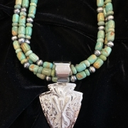 Arrowhead Pendant with 3 Strand Turquoise