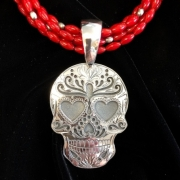 Sugar Skull Pendant with 3 Strand Coral