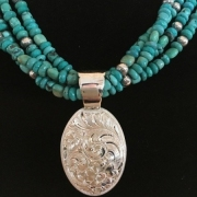 Oval Pendant with Turquoise Necklace