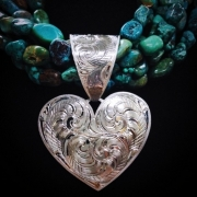Large Bail Heart Pendant on Multi Strand Turquoise