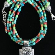 Santa Fe Cross on Multi-strand Necklace