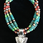 Arrowhead with Crossed Arrows on Multi-strand Necklace